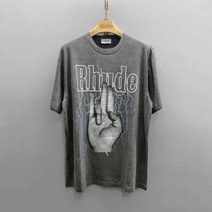 concepteur marque de mode en Europe et en Amérique marée T-shirt à manches courtes marque Rhude lotus fait référence OS lâche marée T-shirt à manches courtes occasionnels