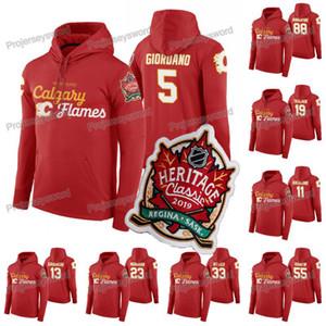 Calgary Flames Mark Giordano 2019 Clássica Hoodie Heritage Mikael Backlund Johnny Gaudreau Matthew Tkachuk Sean Monahan Elias Lindholm Jersey