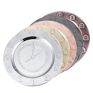 30cm Saat Paslanmaz Çelik Yemekleri Metal Numarası elektrolizle Oyma Tepsi Meyveler Disk Retro Sadelik 10 73hf UU