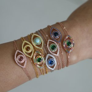 2019 Bless Lucky RainbowTurkish Hamsa Evil Eyes Armreif aus echtem 100% 925 Sterling Silber Armband für zarte Damenschmuck