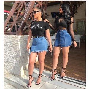 Yaz sıcak yeni moda yüksek bel kadın kot etek rahat etek pantolon İnce seksi kot kot culottes womens