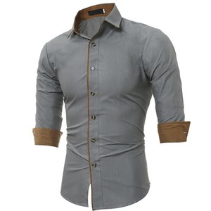 Mens 2020 Luxury Designer Shirts Fashion Long Sleeve Casual Slim Shirt Lapel Neck Solid Color Male Clothing