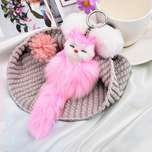 Gioielli Anelli Pompon reale della pelliccia di Fox Charm Keychain Bag Portachiavi Donne sveglie Fluffy arco-nodo catena Fox sfera chiave
