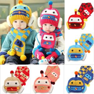 Series de calentamiento del niño del muchacho de los cabritos muchacha gorras de dibujos animados Robot Invierno de punto de ganchillo Beanie sombrero casquillo de la bufanda