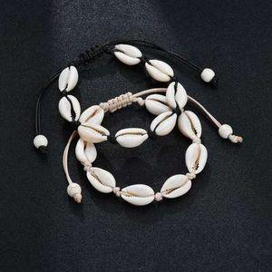 Conchas Pulseras con dijes Hecho a mano Concha natural Tejido a mano Brazaletes de cuerda ajustables Accesorios de mujer Pulsera de cuentas con cuentas Joyas de playa
