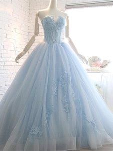 2019 새로운 디자이너 Nice Appliques Ball 가운 Sweetheart Beading 레이스 코트 Train Quinceanera Dresses de fiesta de noche