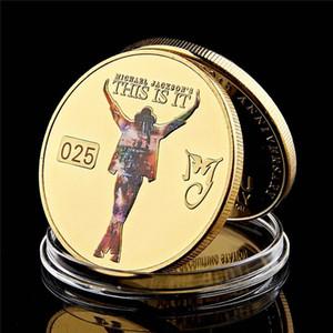 Decoração Artesanato Cantor Michael Jackson Rei do Pop 1958-2009 banhado a ouro coleção de moeda no processo de Arte