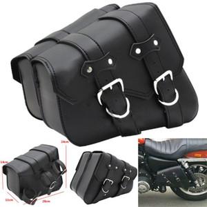2x pour moto Saddlebag PU selle en cuir valise sac moto pour Harley Sportster XL883 XL1200 fer Dyna Sac à outils