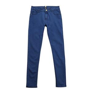 Hxroolrp Moda de cintura alta pantalones vaqueros de las mujeres los pantalones de estiramiento Pour Dames delgado pantalones de las señoras lápiz de los pantalones vaqueros de la cremallera Volver de mujer C2