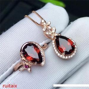 KJJEAXCMY Boutique juwelen 925 reines Silber mit natürlichen Granat weiblichen Ring Anhänger Intarsien + Halskette 2 Stück jewelry.hjkl