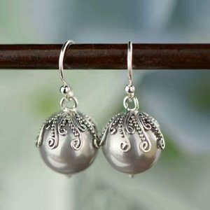 925 Silver Earring Round Simulated Pearl S925 Sterling Silver boucle d'oreille Long Drop Earrings for Women Jewelry