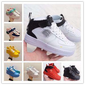 Pas cher Kids Classic 1 Designer Shoes High Cut enfants Boucle Chaussures avec boucle Chassures Un Enfant Chaussures de sport en cuir de basket-ball Formateurs Eur24-35