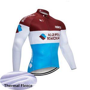 Hiver Thermo-thermo-thermocyte Cyclisme Jersey Men AG2R / BIC Équipe à manches longues MTB Chemise à vélos VTT Vélo Vêtements Vêtements Vêtements Sports Uniformes Y062801