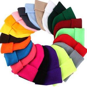 الصلبة اللون محبوك القبعات 23 الألوان الاكريليك كاندي الألوان الشتوية الصوف كاب قبعة في الهواء الطلق قبعات OOA7411