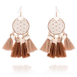 2019 Handmade etnico della boemia filo nappa rotonda orecchini vuoti gioielli vintage per donna e ragazze spedizione gratuita 8 colori C6033