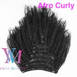 Indio sin procesar humano de la Virgen del clip Ins 3A 3B 3C afro rizado rizado 4A 4B 4C 120g color natural # 1B Clip en extensiones de cabello
