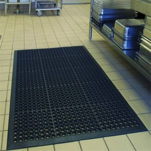 "WACO Gewerbliche Küche Bar Bodenmatte, 36 ""x 60"" Drainage Rubber Heavy Duty Anti-Fatigue Anti-Rutsch-Hexagonal Innen Mat Schwarz"