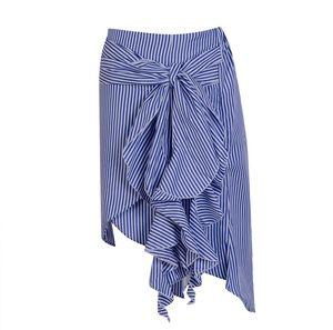 Frauen Trendy Sommer Gestreifte Rüschen Bow Rock-Strand-Party asymmetrische Miniröcke