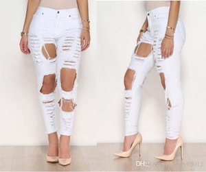 Womens Cotton High Elastic Imitate Jeans Woman Knee Skinny Pencil Pants Slim Ripped Boyfriend Jeans Black White Ripped Skinny Hole Jeans