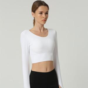AprilGrass Marka Tasarımcı Moda Kadınlar Geri sapanlar Gym Yoga Mahsul Tops Yoga Gömlek Uzun Kollu Eğitim Üst Spor Spor Tişörtler Koşu