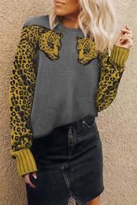 Womens dos leopardos moda mujer suéter de invierno O-cuello de manga larga de las mujeres ocasionales flojas suéteres Pullover Ropa
