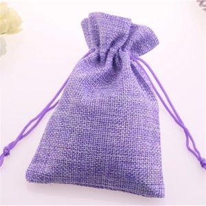 New Design Wholesale 5pcs lot Purple Jewelry Pouches Favor Matrimonio Candy Packaging Drawstring Burlap Bags Christmas Jute Bags