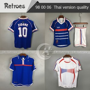 1998 FRANCE RETRO VINTAGE soccer jerseys # 10 ZIDANE #12 HENRY MAILLOT de FOOT 2006 Thailand Quality fards Football 2000 Jerseys shirt