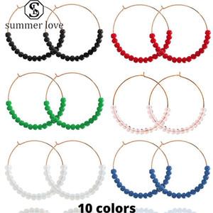 2020 nuovi monili d'avanguardia di vetro in rilievo Handmade di goccia ciondola gli orecchini rotondi oro della lega degli orecchini del cerchio di modo del regalo per le donne-Y