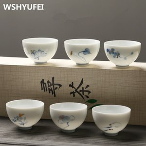 High Quality hand painting ceramic tea cup tea questionable istikan PU er tea cup set 6pcs pack Gift Package