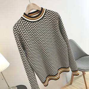N14 2019 осень многоцветный Colorblock трикотажные элегантные пуловеры свитер с длинным рукавом круглый вырез мода свитера OS19SPRPUR4881