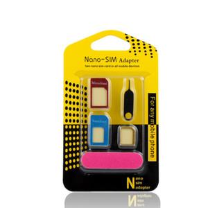 5 in1 SIM Adaptör Alüminyum Metal Nano Sim kartlar Mikro kartlar Telefon sams için Cep Telefonu cep telefonu aksesuarı için standart kartlar