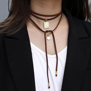 26 inicial terciopelo de piel colgante La letra del alfabeto de multi capa Collar Gargantilla de la vendimia para las mujeres forman DN182 joyería collar