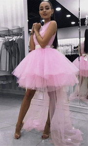 2020 Cute Pink High Low Evening Party Dresses Tulle Ball Gowns Sheer Neck Bows Pleated Cheap Graduation Prom dress