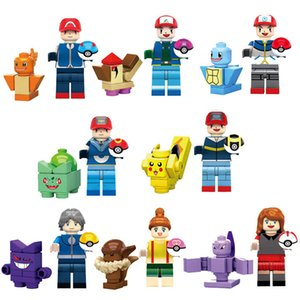 16 pcs Educational Japan Cartoon Film Pocket Animal Mini Action Figure Monster Building Blocks Toy For Children
