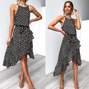 Summer Halter Polka Dot Dresses Sexy Female Night Club Mini Dress Panelled Ruffle Party Clothing