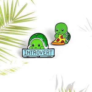 Animal lindo verde tortuga tortuga Broche pizza INTROVERTIDO tortuga broches de solapa camisa de joyería insignia de tortuga para niños prendedores