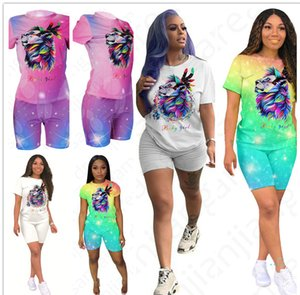 Women Summer Shorts Set Outfits Lion Print Short Sleeve Round Neck T-Shirt Tee Shorts Pants Tracksuit Sexy Night Club Clothes D4704