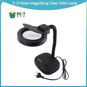 Brillo ajustable lámpara de mesa de 5-10 veces de aumento con 36 LED se enciende retráctil para extensión de la pestaña de reparación de teléfonos