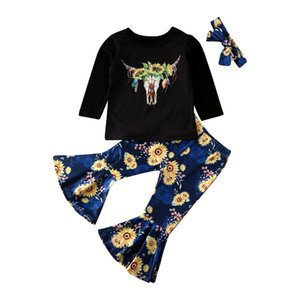 Spring 3PCS Toddler Baby Girl Sunflower Clothes Long Sleeve Tops T-shirt Flare Pants Fall Autumn Outfits Set