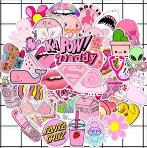 Низкая цена New Cute Pink Small Свежее автомобилей болваны наклейки для багажа вагонетки чехол для ноутбука скейтборд гитары водонепроницаемый Doodle наклейки