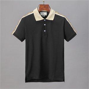 Новые роскошные дизайнерские рубашки поло Мужчины повседневные Поло мода Письмо печати вышивка футболка High Street мужские хлопчатобумажные Поло M-3XL