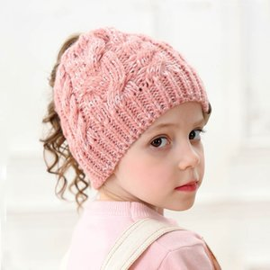 8Color Knitted Ponytail Beanie Winter Girls Hat Cap Crochet Solid Skullies Stretch Warm Kids Beanies Fashion Caps Christmas Gift