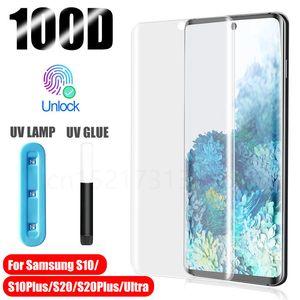 UV-gehärtetes Glas für Samsung Galaxy Note 20 S20 Ultra-S10 Plus-S9 S8 Liquid Screen-Schutz für Samsung-Anmerkung 10 plus 9 8 Glass Film