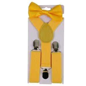 2Pcs Set Solid Color Kids Boy Girls Clip-ons Y-Shape Elastic Suspenders Bowtie Suspenders Y-Shape Pre-tied Bow Suspenders hot 20