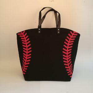 Borse pizzo nero Blanks baseball Borsa del cotone di modo della tela di canapa casuali di sport di softball borsa Calcio Calcio Pallacanestro SpotIE HandBag DOM281