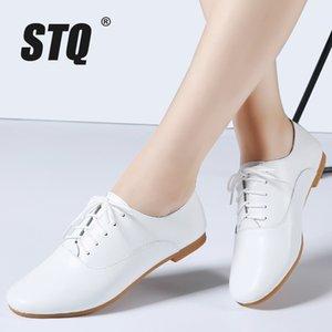 STQ 2019 oxford otoño bailarinas mujeres auténticos mocasines de cuero de encaje hasta los mocasines zapatos blancos 051 T200111