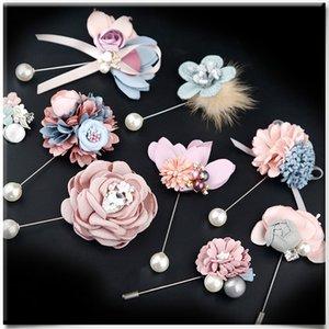 i-Remiel Moda Cloth Art flor agulha longa broche pin-coreano Xaile Cardigan Corsage lapela o emblema Vestuário Acessórios