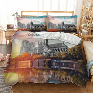 Set di biancheria da letto matrimoniale con stampa 3D Set di biancheria da letto con motivo 2/3 pezzi di Notre Dame de Paris con federa