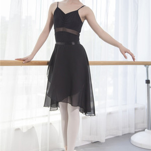 Ballet Tutu Skirt Professional Adults Middle Long Chiffon Ballet Skirts Women Lyrical Soft Lace Up Dress Ballerina Dance