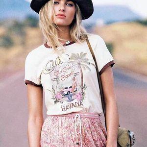 Boho 영감 빈티지 티 크림 짧은 소매 오 목화 코튼 T 셔츠 여성 2019 여름 새로운 티셔츠 Femme 집시 닉 그래픽 티 Y19060601